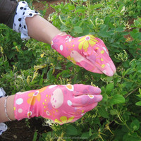 13G Flower Print PU coated garden working gloves for lady
