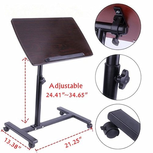 OUTAD Portable Laptop Notebook Rolling Table, Overbed Table Medical Adjustable Portable Notebook Desk Sofa Side Table Nursing Reading Foldable Breakfast Table (Hospital and Home Use)