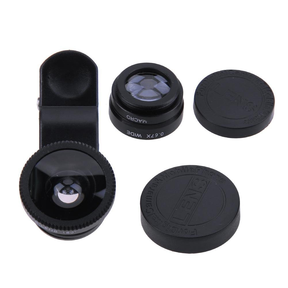 UniHappy 3 in 1 Fish Eye+ Wide Angle+ Macro Camera Lens Kit for Phone (Black)