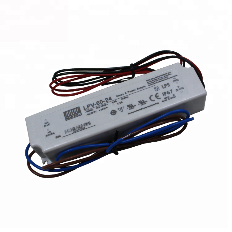 Meanwell 60W 24V 2.5A Constant Voltage LED Driver LPV-60-24 Waterproof IP67 Neon Light Power Supply