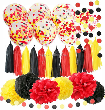 Mickey Mouse Birthday Decorations Yellow Black Red Confetti Ballons Paper  Pom Pom Tassel Garland Party Supplies Kit Baby Shower , Buy Minnie Mouse