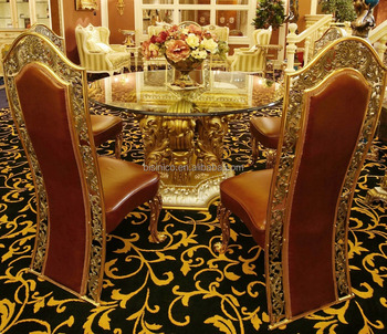 French Rococo Design Golden Round Dining Room Table With Genuine Leather Chair For 4 People