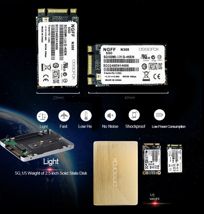 M.2 NGFF SSD Card to 2.5 inch HDD Case with 128G