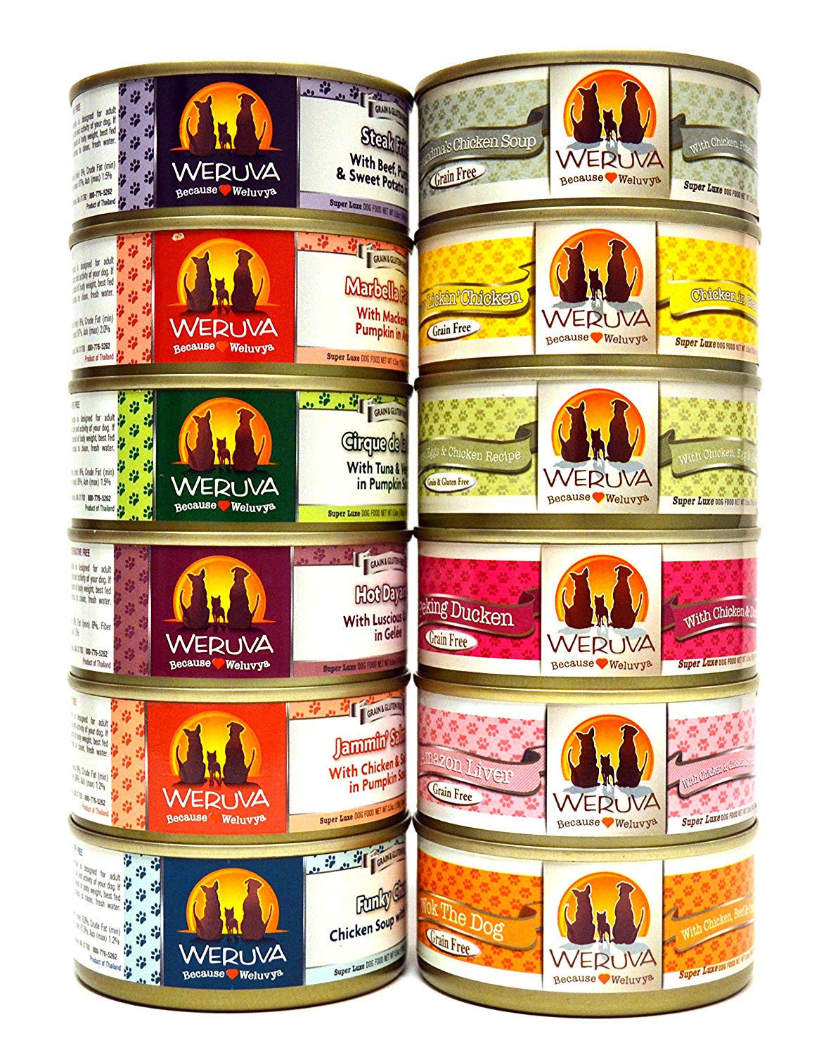 Weruva Grain Free Canned Dog Food Variety Pack - 12 Flavors (Grandma's Chicken Soup, Wok the Dog, Peking Ducken, Amazon Liver, Steak Frites, Funky Chunky, Cirque de la Mar, Paw Lickin' Chicken, Jammin' Salmon, Marbella Paella, Green Eggs & Chicken, and Hot Dayam!) - 5.5 Ounces Each (12 Total Cans)