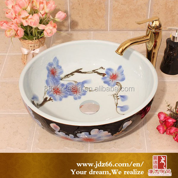 Beautiful black and white hand painted porcelain relief art bathroom vessel sink for home decoration