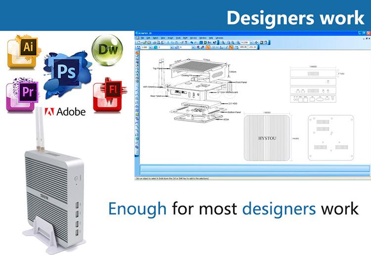 Di alta qualità 8G DDR3 256 GSSD fanless i5 7200U mini Compact Desktop del computer pc