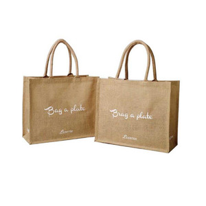 Eco Shopping Wine Tote Clutch Supplier Small Gift Beach Printed Waterproof Jute Bag