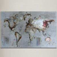 The Wrd Map Hand Paint Textured Canvas Painting framed in high quality
