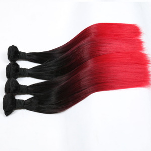 ombre color straight hair synthetic hair wefts customized fake hair