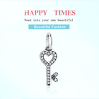 Key Key 925 Sterling Silver Sparkling Cubic Zircon Beads Key Of Your Heart Dangle Charms For Bracelet DIY Jewelry Making Accessories