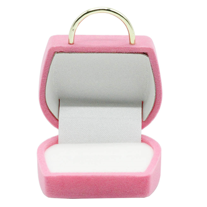 With gold handle and buckle baby pink velvet jewellery box