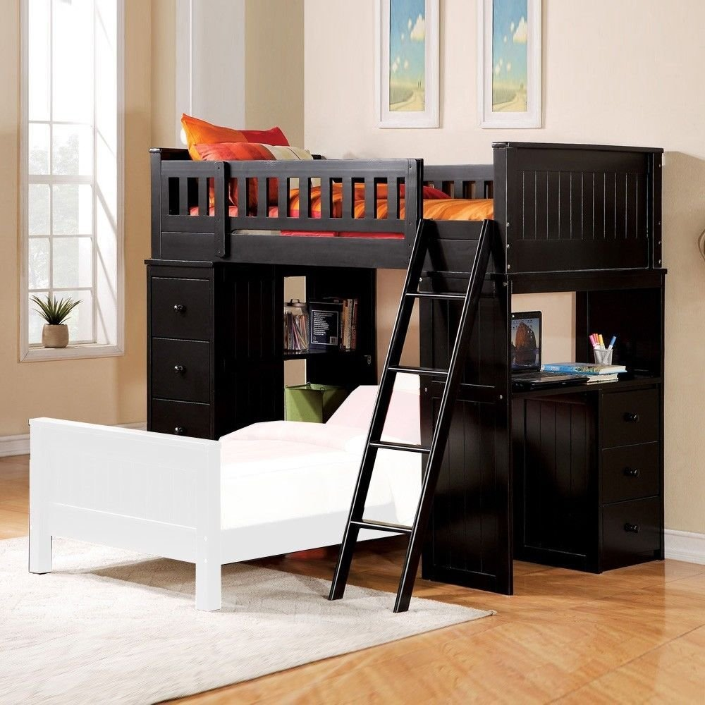 1PerfectChoice Willoughby Youth Kids Twin Loft Bed Storage Workstation Storage Chest Wood Black