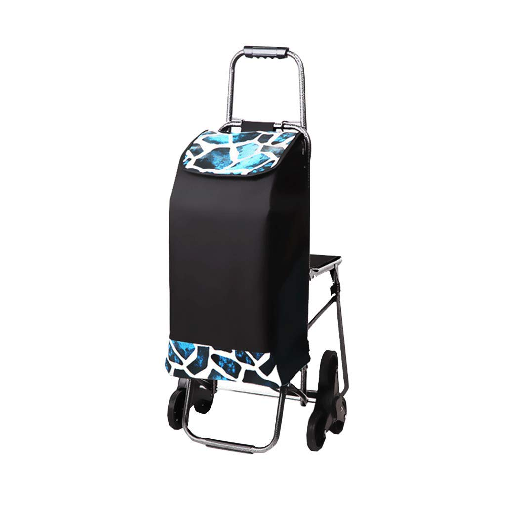 Folding Boot Cart Household Small Trailer Climbing Building with Stool Trolley Folding Portable Luggage cart Trolley Shopping cart Small cart (Color : Black, Size : 574494cm)
