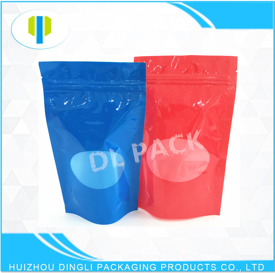 OEM food grade stand up clear window custom printed zipper pouches