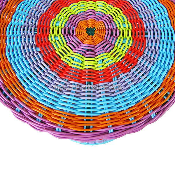Bright Multi Colored Pe Round Rattan Drum Shape Bar Stool