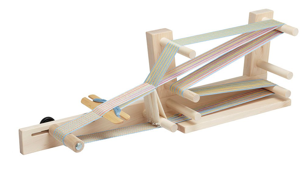 Oak table weaving with shuttle and needle 8 inch Beveled Inkle shuttle