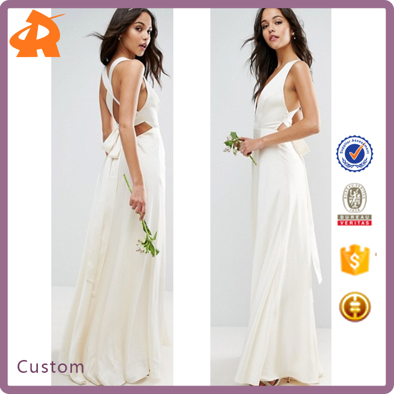 2017 BRIDAL Bride Bridesmaid Deep Plunge Strap Back Fishtail Maxi Dress for Wedding Party