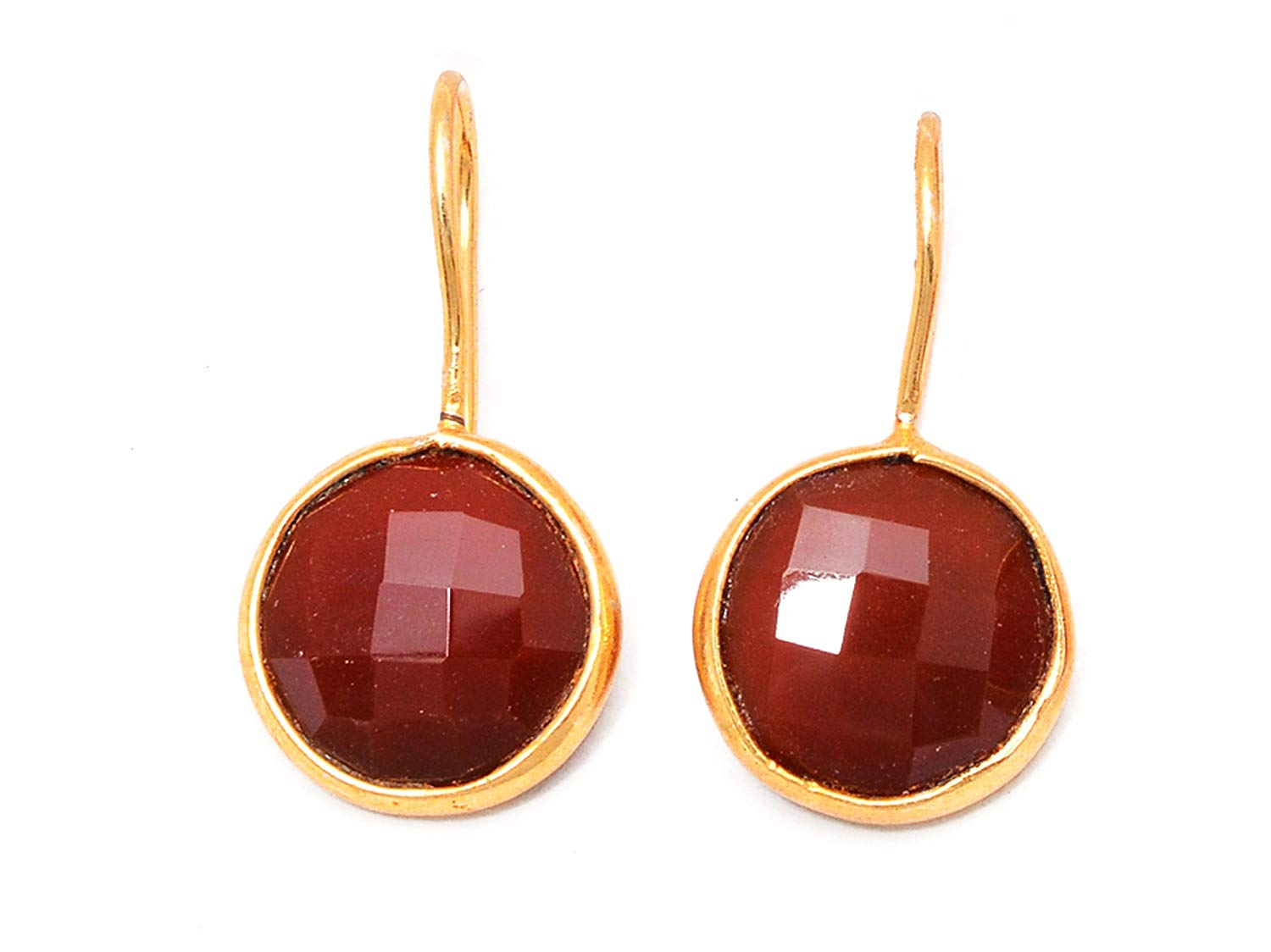 f12f224c4 Get Quotations · Elegantjewels 1 Pair Red Onyx 12mm Round 925 Sterling  Silver Gold Plated Clip Earring,Handmade