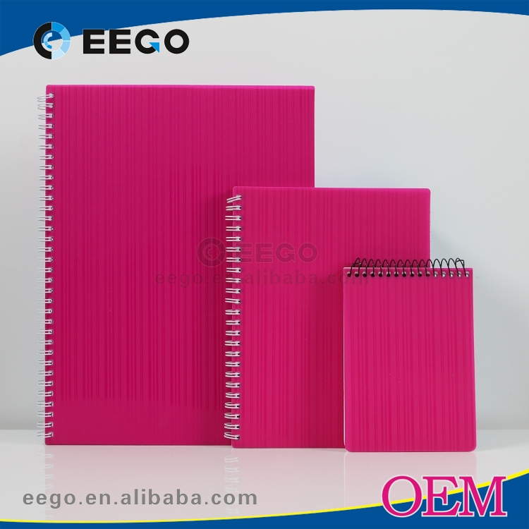 Fashion color lined plastic pp cover cheap bulk spiral notebooks