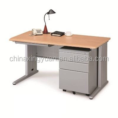 Wooden top metal frame office table computer desk with drawer cabinet