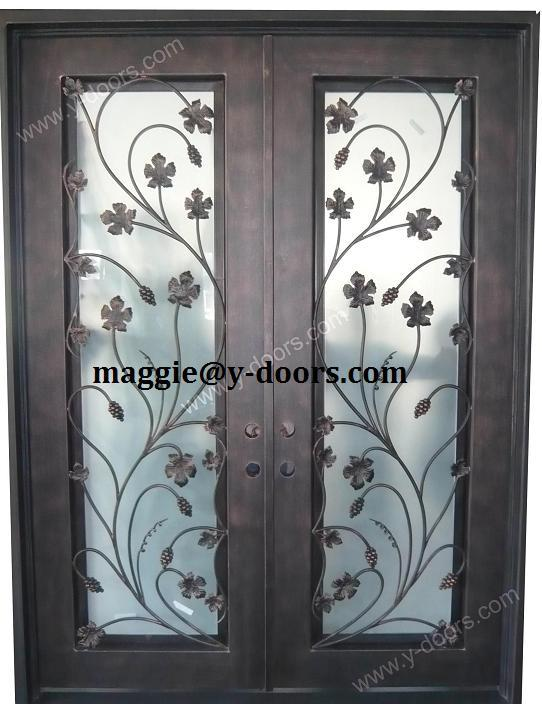 New flower wrought iron double door design steel entry for Main two door designs