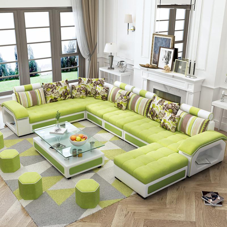 Fabric Living Room <strong>Sofa</strong> Design u Shape 7 Seater Sectional <strong>Sofa</strong>