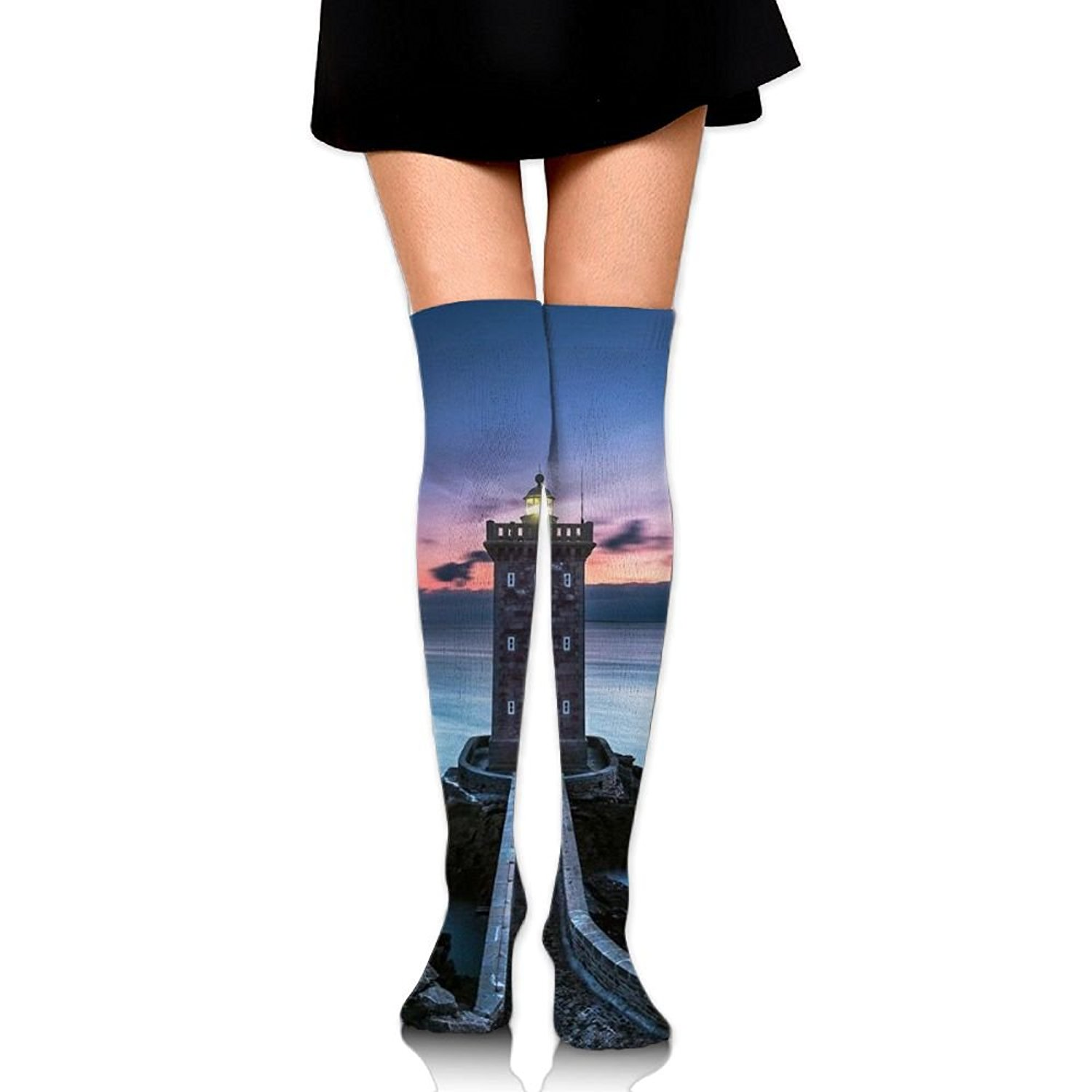 Zaqxsw Lighthouse Women Graphic Thigh High Socks Thermal Socks For Womens