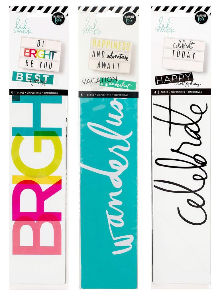 Heidi Swapp - Lightbox Word Strips Set - Travel, Every Day & Party - 3 Item Set - 13 Word Strip Inserts