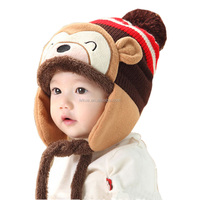 Lovely Kid's Winter Thicken Knit Animal Beanie Hat with Earflag for Baby Girl Boy 5 Months to 5 Years