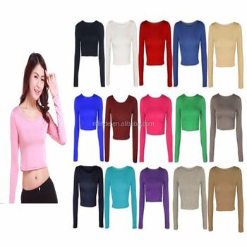 01f97b6ada6b Wholesale Women Crop Top Sweat Suit Basic Long Sleeve T Shirt Ladies Short Plain  Round Neck
