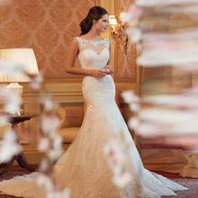 Cheap Lace Wedding Dress 2016 Mermaid Wedding Dresses Romantic Bride Dress Custom Made Fashionable font b
