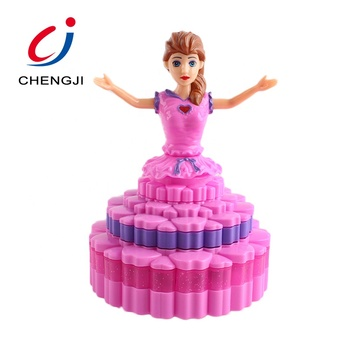 Hot sale lovely rotary baby girl toy kids dancing princess doll toy with light