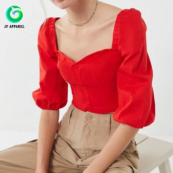 Sweet red heart-shaped neckline folds long-sleeved dew navel crop top