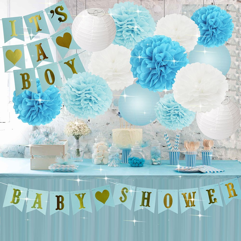Boy Baby Shower Decorations Boy BABY SHOWER IT'S A BOY Bunting Banner Baby Blue White Turquoise Tissue Paper Pom Poms Tissue Paper Flowers Balls Paper Lanterns Baby Boy Baby Shower Party Decorations