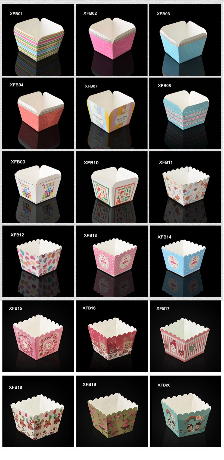 XFB16 BAKEST new square red pattern cake paper cups hot sale DIY baking tools