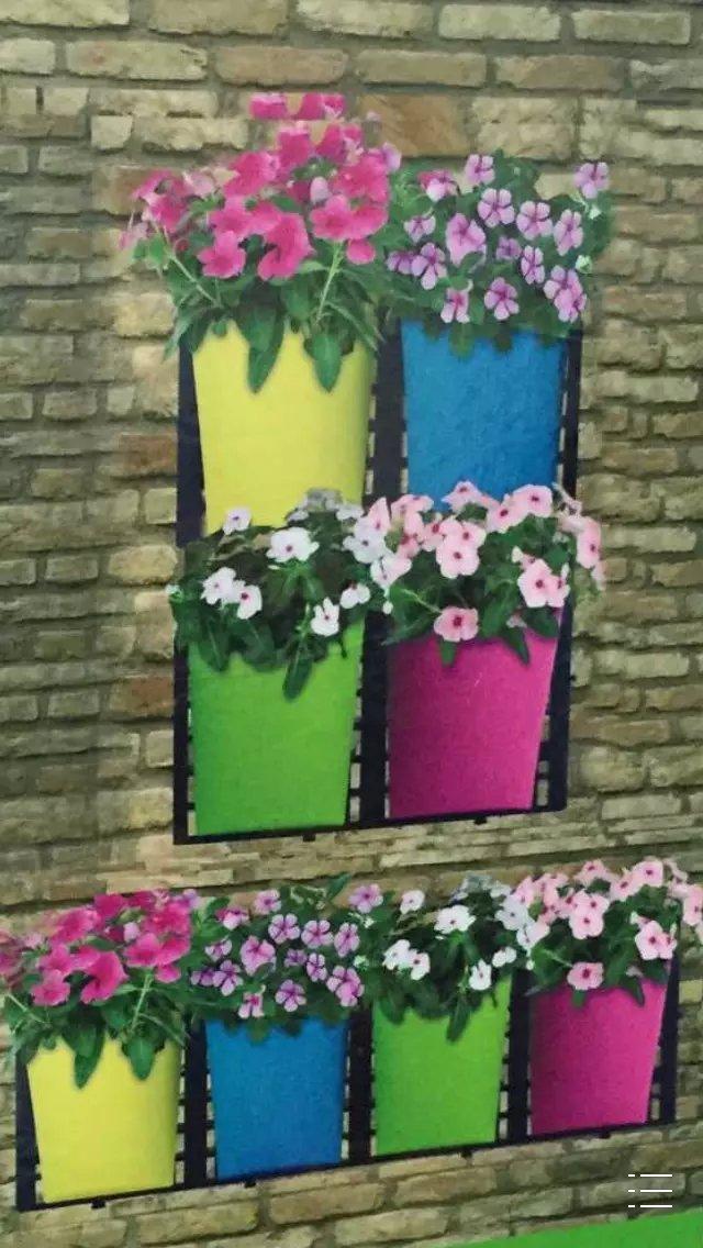 Urban plastic colorful hanging plant flower pots buy for Colorful hanging planters