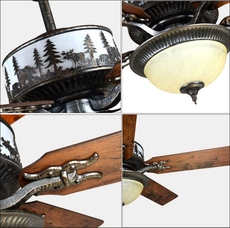 Coffee shop country decor rustic wrought iron led fancy ceiling fan light