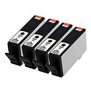 HOTCOLOR 4PK 564 XL Black Ink Cartridges Remanufactured for HP 564XL Black Ink Cartridge (CN684WN)