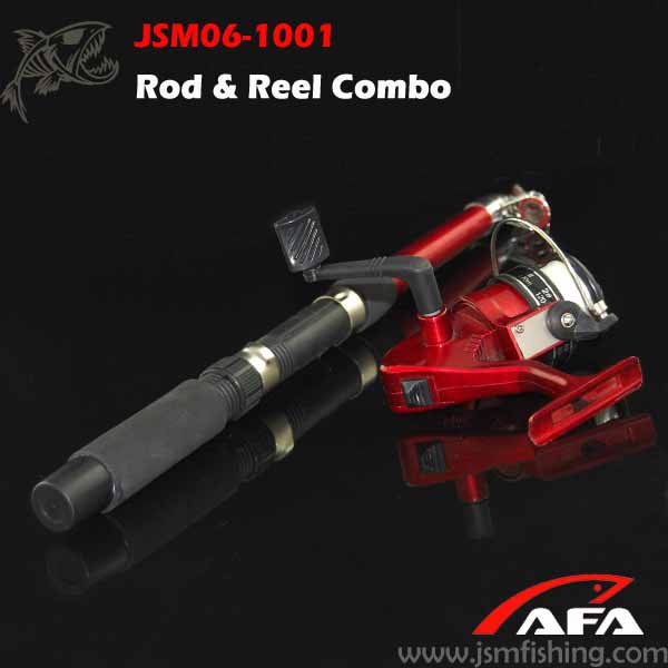 Good quality mini red portable fishing rod in pen case, Combo fishing rod and reel ,shore jigging rod JSM06-1001