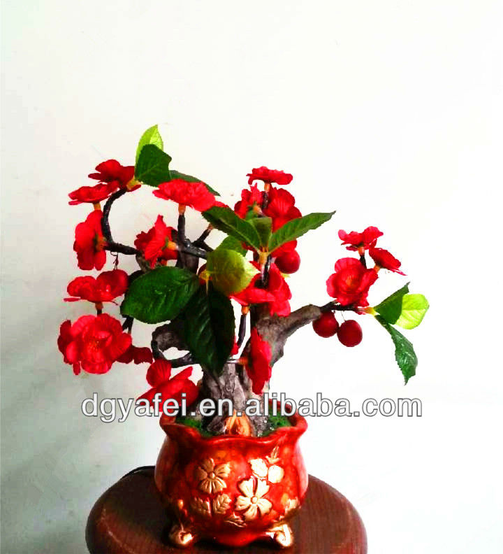 Indoor lighted LED plastc pulm blossom and cherry fruit bonsai tree