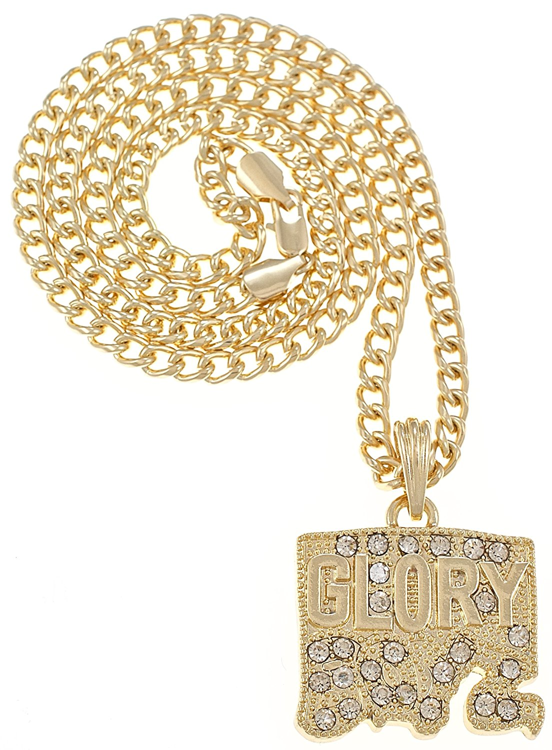 7d7fbf9492d GWOOD Glory Boyz Gold Color Iced Out Pendant 24 Inch Cuban Link Necklace
