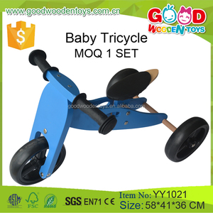 New Design Wooden Baby Trolley Walker Three Wheels Baby Tricycle for Wholesale Ride on Toy Car