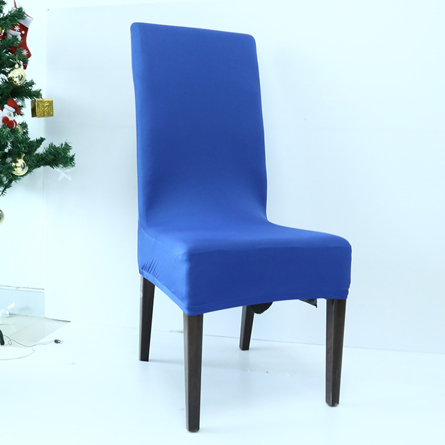 Hotel Supply Christmas Navy Blue Spandex Chair Covers For Sale