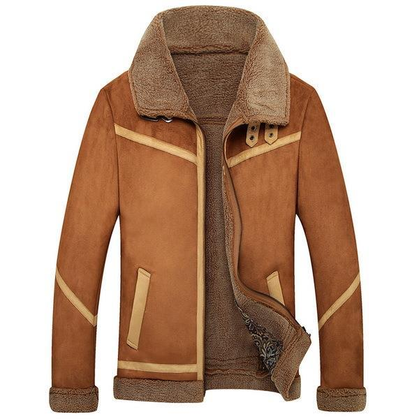 Buy 2015 Vintage Style Men Suede Leather Jackets Fur Coats Size M
