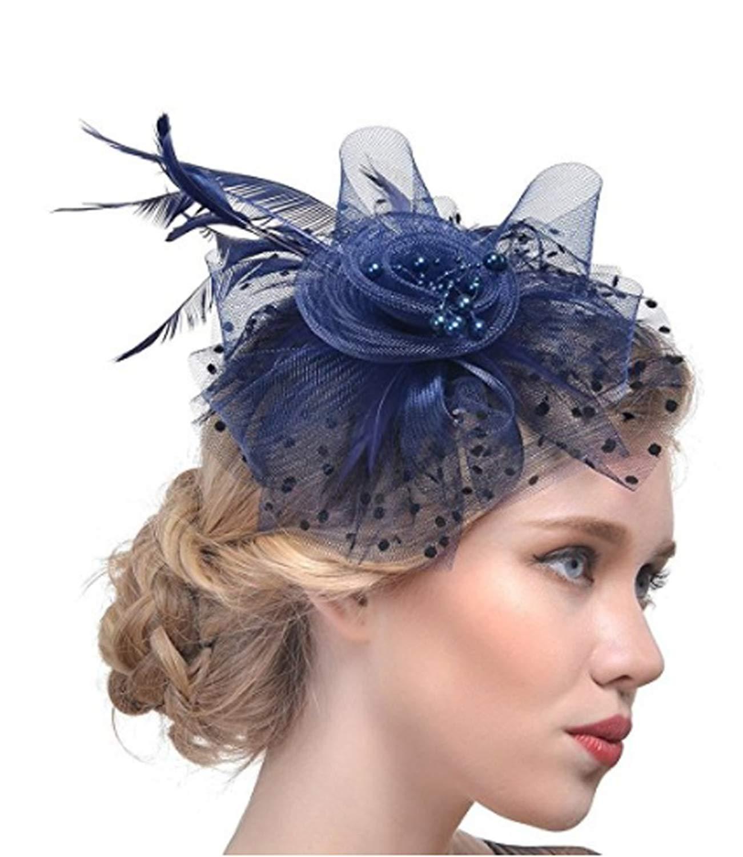 a7a7e43541b83 Get Quotations · JOYEBUY Fascinators Hat Flower Feathers Hair Clip Kentucky  Derby Wedding Cocktail Headwear for Lady Women