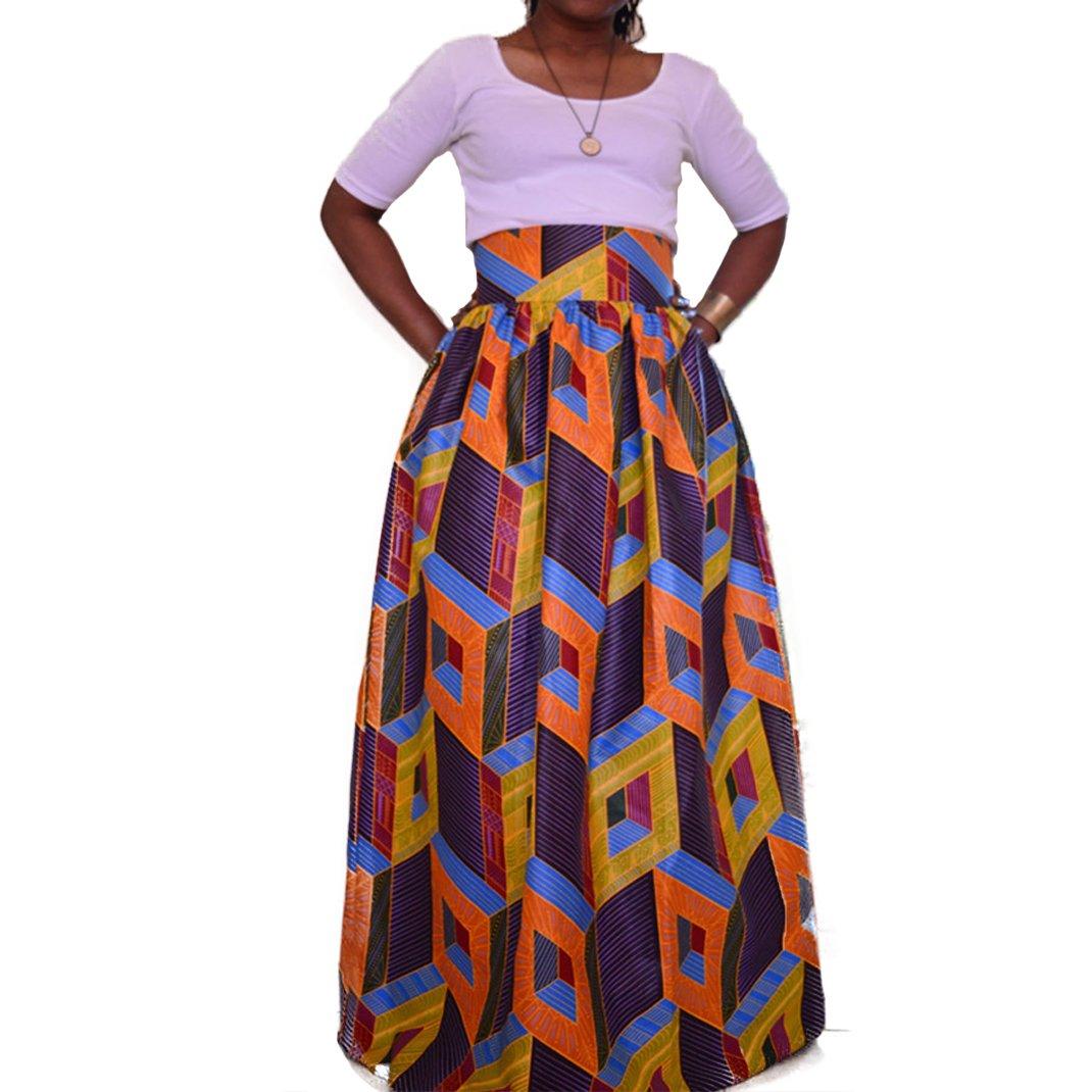 a26d0d5f7c Get Quotations · Women's African Print Pockets Maxi High Waist Skirts  Full-Length Pleated A-Line Skirt
