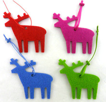 High quality hanging felt Christmas animal decoration felt moose toy with string