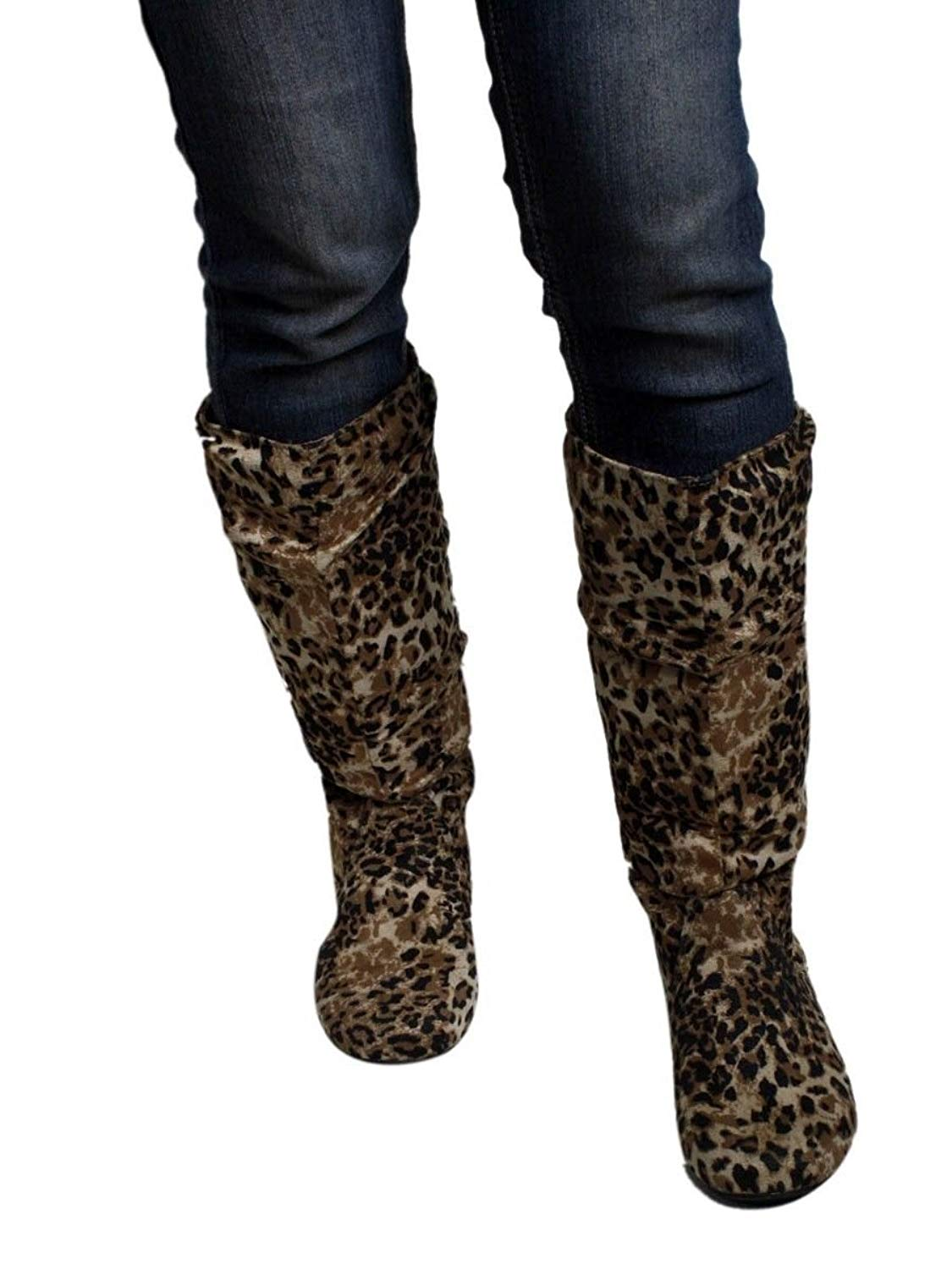 341b3e16bdb6 Get Quotations · Women's Fashion Knee-High Faux Suede Material Flat Slouch, Round  Toe Boots -048
