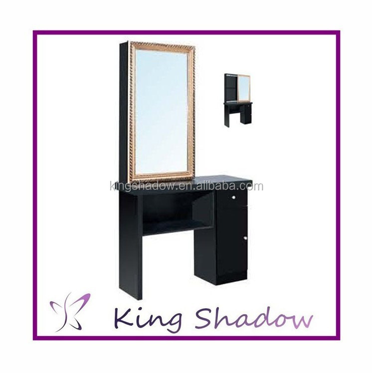 2014 hot sale salon equipment barber mirror table double for Salon table and mirror