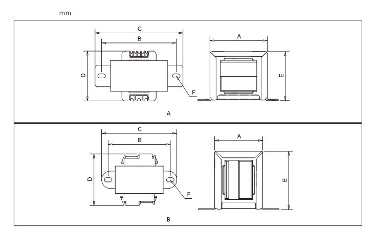 EI19 transformador EI Tipo de baja frecuencia del transformador de poder de 5Va 220 V a 0 V 150 V 0 V 150 V